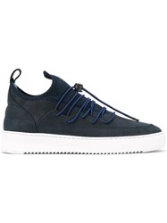 Filling Pieces 'Neo' Suede Panelled Sneakers Blue