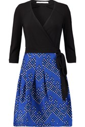 Diane Von Furstenberg Jewel Wrap Effect Wool Blend And Printed Crepe Dress Royal Blue