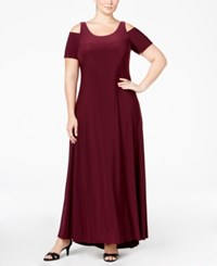 Betsy And Adam Plus Size Cold Shoulder Gown Wine