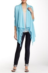 Cullen Long Sleeve Fringe Sharkbite Silk Blend Cardigan Blue