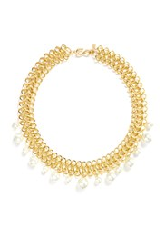 Kenneth Jay Lane Glass Pearl Drop Interlocked Chain Necklace Metallic