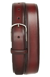 Canali Men's Hand Buffed Calfskin Belt Burgundy