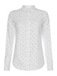 Gant Long Sleeve Button Up Polka Dot Shirt White