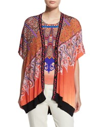 Etro Stampa Embroidered Trim V Neck Poncho Cardigan Orange Purple