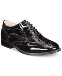 Wanted Babe Lace Up Oxfords Women's Shoes Black Patent