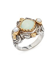 Konstantino Amphitrite 3Mm White Pearl Agate 18K Yellow Gold And Sterling Silver Ring