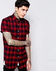 Asos Check Shirt In Flannel With Short Sleeve Longline Red