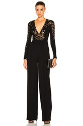 Zuhair Murad Flared Leg Embroidered Jumpsuit In Black