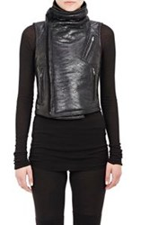 Rick Owens Coated Shearling Biker Vest Black