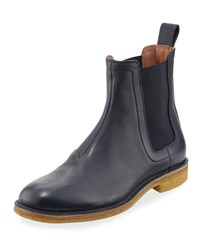 Bottega Veneta Grained Leather Chelsea Boot Navy