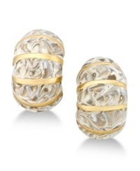 Erwin Pearl Atelier For Charter Club Gold Tone Striped Enamel Huggie Earrings Only At Macy's White Marble Gold