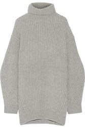 Acne Studios Isa Ribbed Wool Turtleneck Sweater Gray