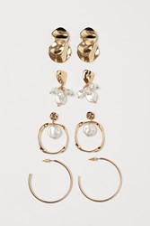 Handm H M 4 Pairs Earrings White