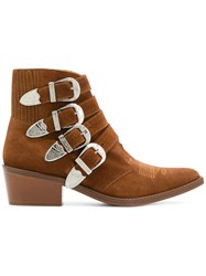 Toga Pulla Buckled Strap Ankle Boots Brown