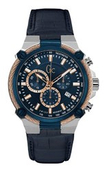 Gc Y24001g7 Mens Leather Sports Watch Blue