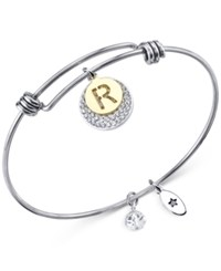 Unwritten Pave And Initial Disc Bangle Bracelet In Stainless Steel And Silver Plate