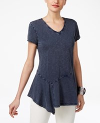 Style And Co Cotton Asymmetrical Hem Top Only At Macy's Industrial Blue