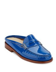 G.H. Bass Wynn Iconic Patent Leather Penny Mules Cobalt Blue