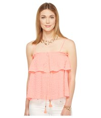 Lilly Pulitzer Mays Top Coral Reef Women's Clothing Red