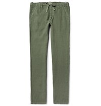 Hartford Troy Slim Fit Drawstring Linen Trousers Army Green