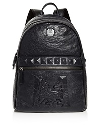 Mcm M Lion Medium Backpack Navy