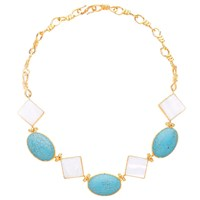 Ottoman Hands Mother Of Pearl And Turquoise Statement Necklace White Blue Gold