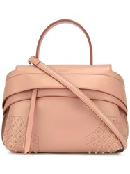 Tod's Mini Bauletto Waves Tote Pink Purple