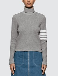 Thom Browne 4 Bar Compact Waffle Turtleneck Sweater Grey