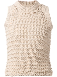 Maison Martin Margiela Loose Knit Tank Top Nude And Neutrals