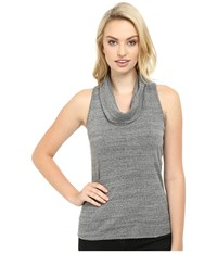 Three Dots Sleeveless Cowl Neck Charcoal Women's Short Sleeve Button Up Gray