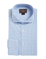 Black Brown Button Down Gingham Sportshirt Light Blue