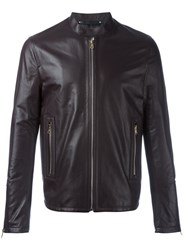 Paul Smith Leather Zip Jacket Brown