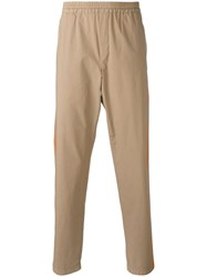 Msgm Printed Side Stripe Trousers Nude Neutrals