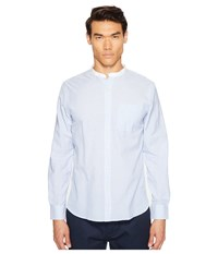 Todd Snyder Bengal Stripe White Band Collar Shirt Blue Men's Short Sleeve Button Up