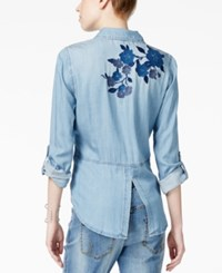 Inc International Concepts Embroidered Denim Shirt Only At Macy's Indigo
