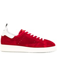 Golden Goose Deluxe Brand Starter Sneakers Leather Velvet Rubber Red