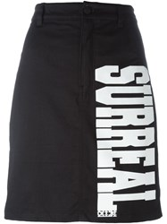 Ktz 'Surreal' Print Denim Skirt Black