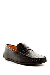 Donald J Pliner Igor Penny Croco Printed Leather Moccasin Loafer Black