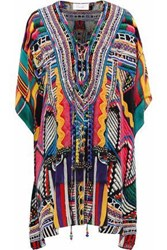 Camilla Woman Lace Up Crystal Embellished Printed Silk Coverup Blue