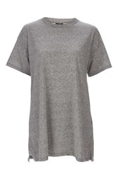 Topshop Petite Oversized Boyfriend Tunic Top Grey