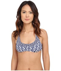Sperry Island Time Ikat Reversible Bralette Midnight Women's Swimwear Navy