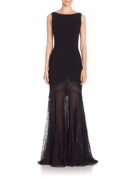 Theia Lace Mermaid Gown Black