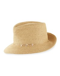 Eric Javits Mustique Squishee Packable Sun Fedora Hat Beige