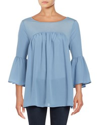 French Connection Solid Pleated Top Blue