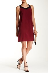 Lavand Colorblock Sleeveless Shift Dress Red