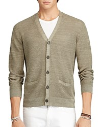 Polo Ralph Lauren Linen Silk V Neck Cardigan Sweater Turf Olive
