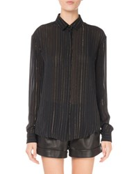 Saint Laurent Metallic Striped Blouse Black