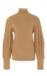 Caroline Constas Chunky Cable Knit Sweater Neutral