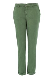 Hallhuber Cropped Chino Pants From Modal Green