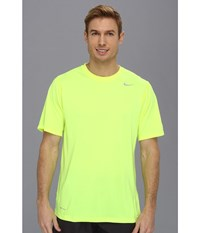 Nike Legend Dri Fit Poly S S Crew Top Volt Dark Grey Heather Matte Silver Men's Short Sleeve Pullover Yellow